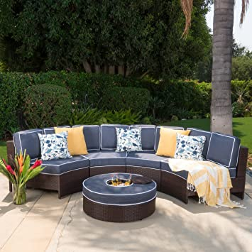 Riviera Ponza Outdoor Patio Furniture Wicker 4 Piece Semicircular Sectional  Sofa Seating Set W/ Waterproof