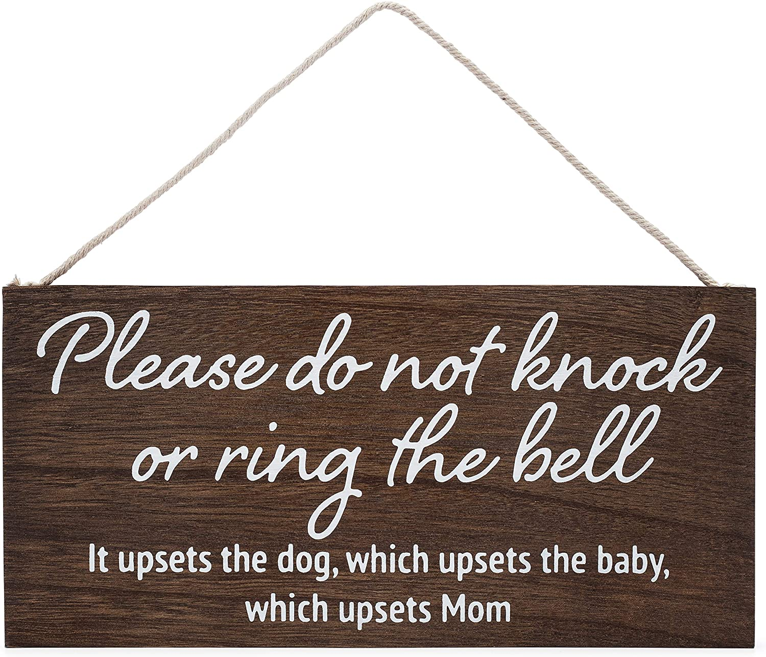 Baby Sleeping Sign for Front Door - Please do not Knock or Ring The Bell, it upsets The Dog, which upsets The Baby, which upsets mom - No Soliciting Sign for House - Do not Ring doorbell Sign