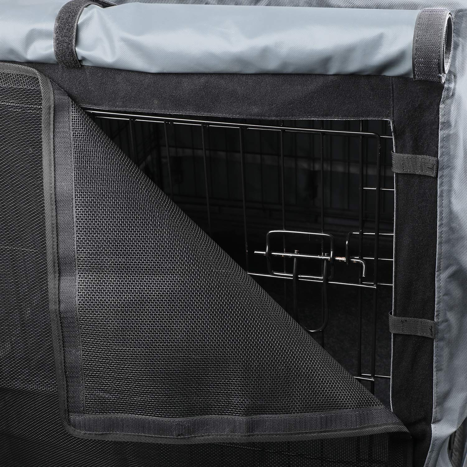 yotache Dog Crate Cover for 42'' Double Door Wire Dog Cage, High Density 600D Oxford Cloth Indoor/Outdoor Durable Waterproof & Windproof Pet Kennel Covers, Gray by yotache (Image #5)