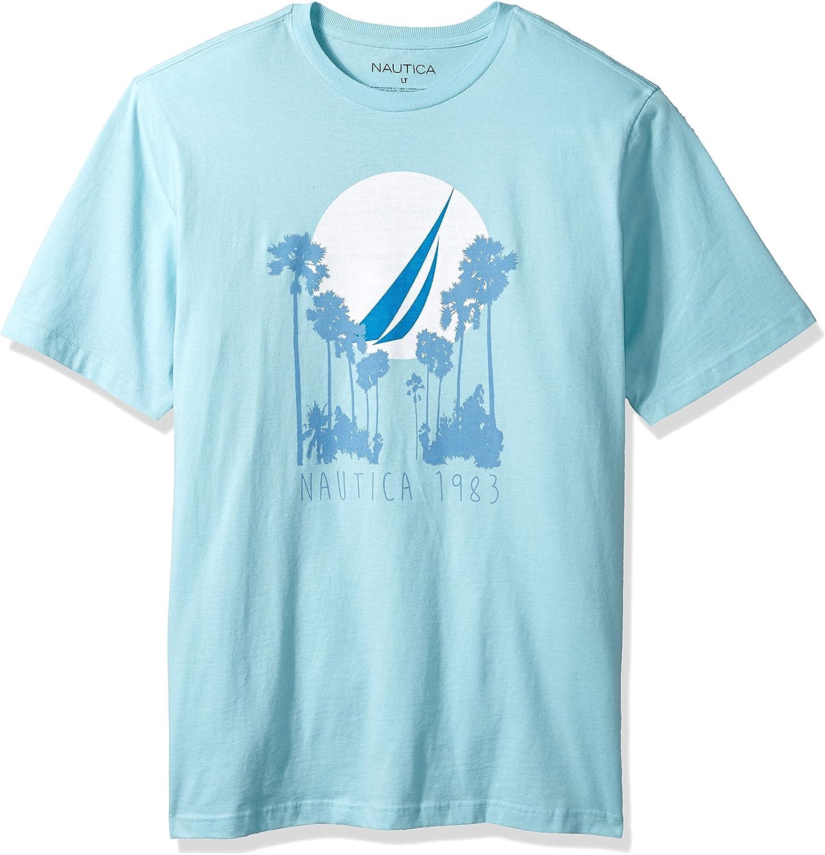 Nautica Mens Big and Tall Short Sleeve Signature Graphic Crewneck T-Shirt