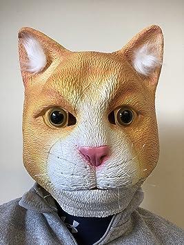 Mascara de Gato Rojizo con Blanco, Mascara de Latex Cabeza Completa