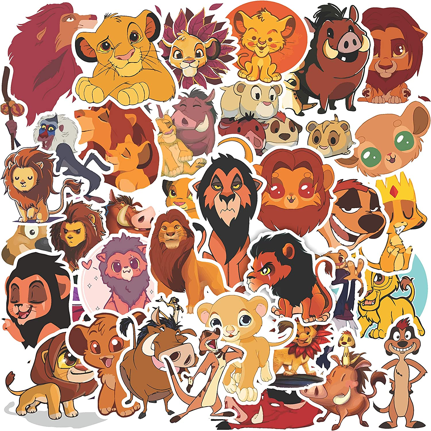 H2 Studio Lion King Stickers, Adorable Vinyl Stickers for Laptop, Skateboard Stickers, Lion King Birthday Party Supplies, Cartoon Stickers for Nursery Decor, Baby Room Decor, Wall Decals for Bedroom