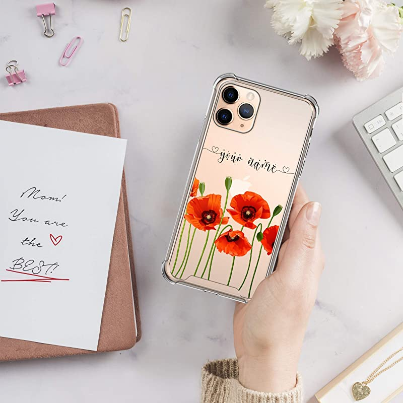 Personalized iPhone 12 Case Poppy Flowers Name 12 Mini Case iPhone XR Case iPhone SE Case Handwriting iPhone XS Max Case 11 Pro Case U229