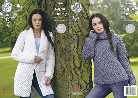 King Cole Ladies Super Chunky Knitting Pattern Easy Knit Jacket