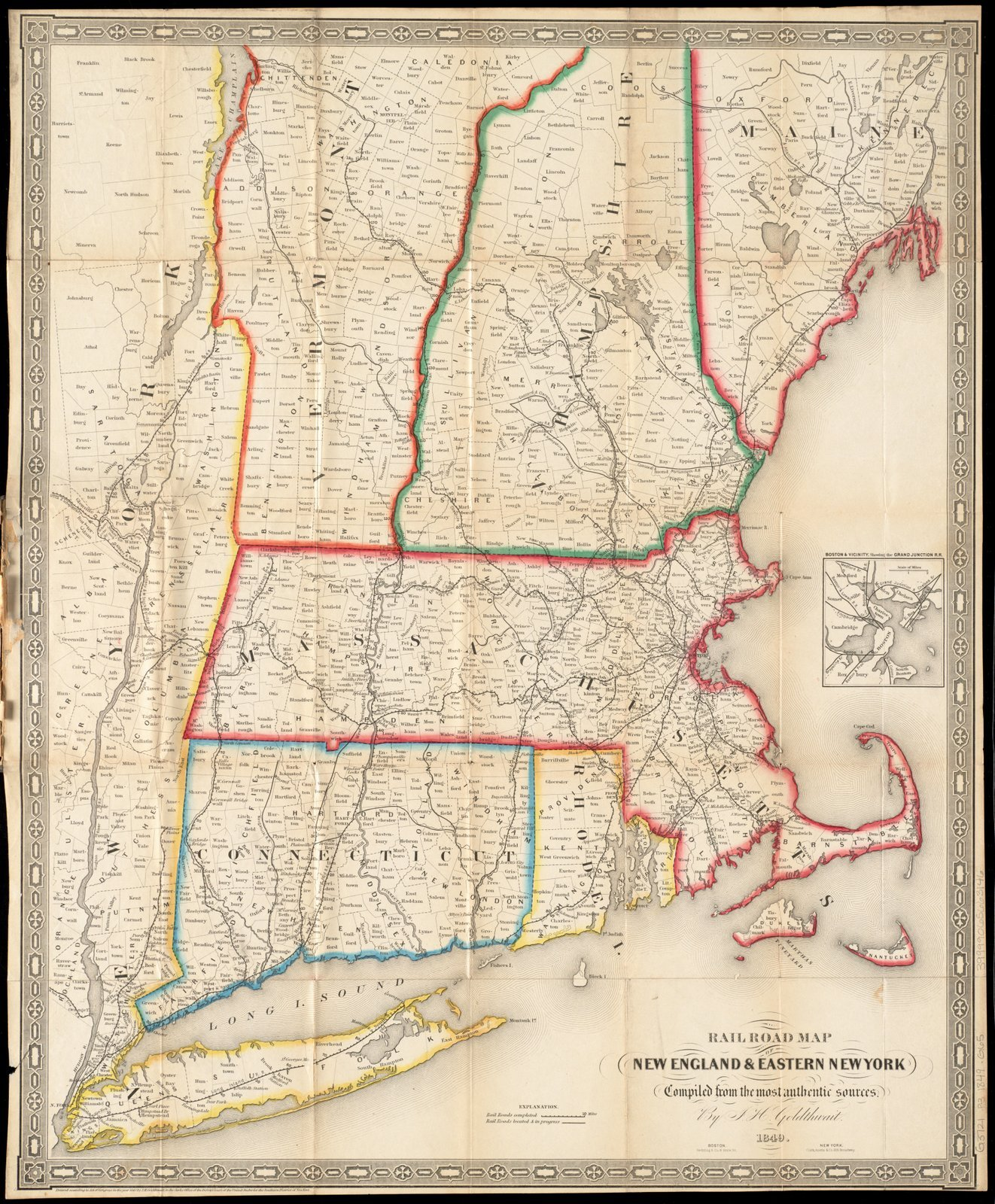 Historic Map   1849 Railroad map of New England & eastern New York complied from the most authentic sources   Antique Vintage Reproduction