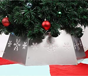 Blissun Metal Christmas Tree Ring, Christmas Tree Collar with Printed Snowflake, Willow Tree Skirt Base Stand for Christmas Tree Decorations (Silver)