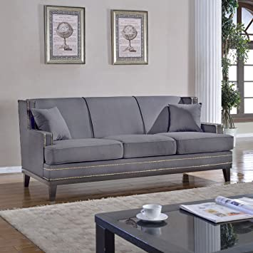 Amazon.com: Modern Soft Linen Fabric Sofa with Nailhead Trim ...