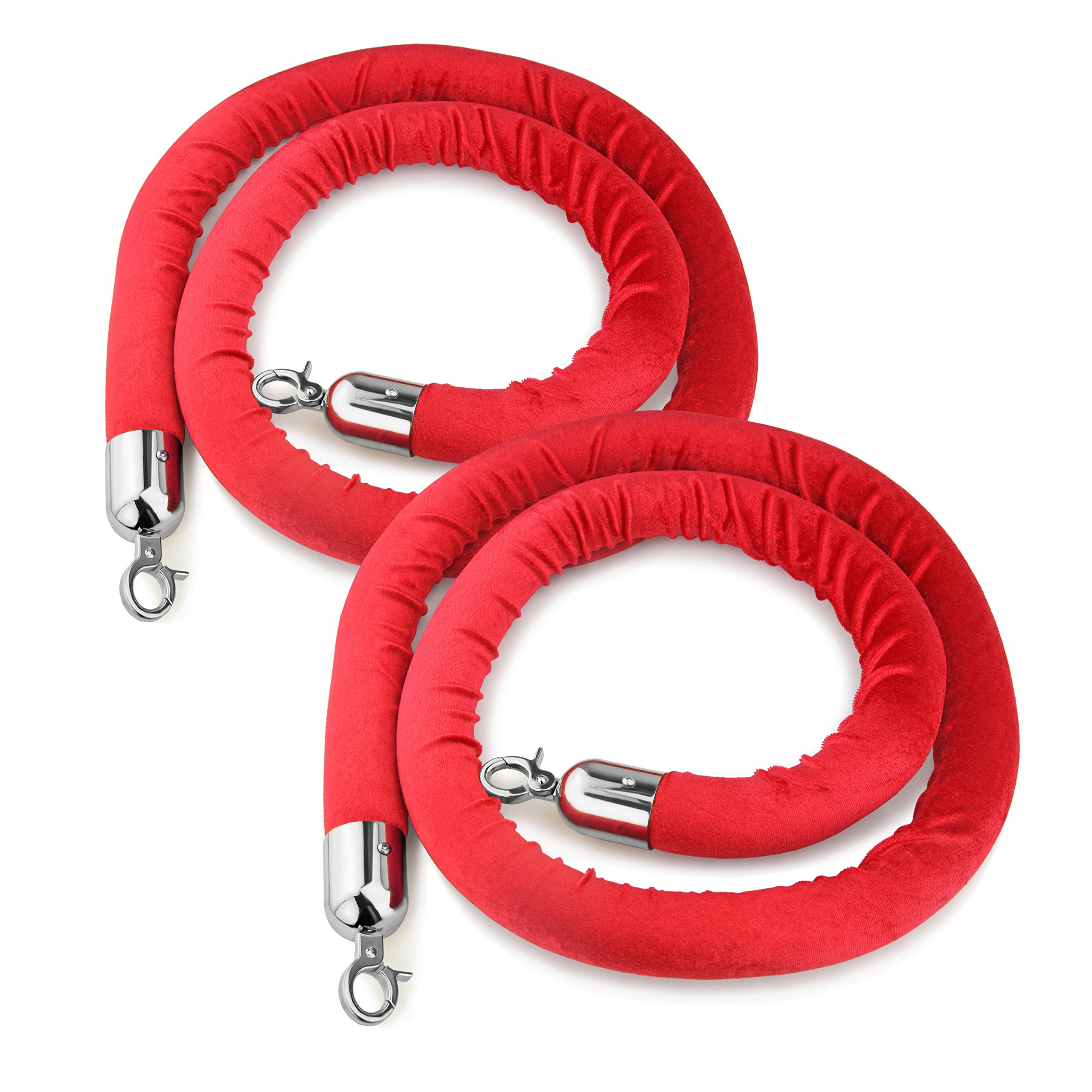 New Star Foodservice 54767 Red Velvet Stanchion Rope with Chrome Plated Hooks , 79.5-Inch, Set of 2 by New Star Foodservice Inc.