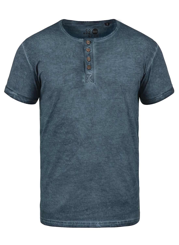 !Solid Tihn T-Shirt A Maniche Corte Maglietta da Uomo con Collo Grandadin Cotone 100%