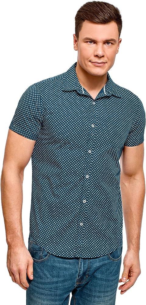 oodji Ultra Hombre Camisa Estampada Manga Corta, Azul, 50: Amazon.es: Ropa y accesorios