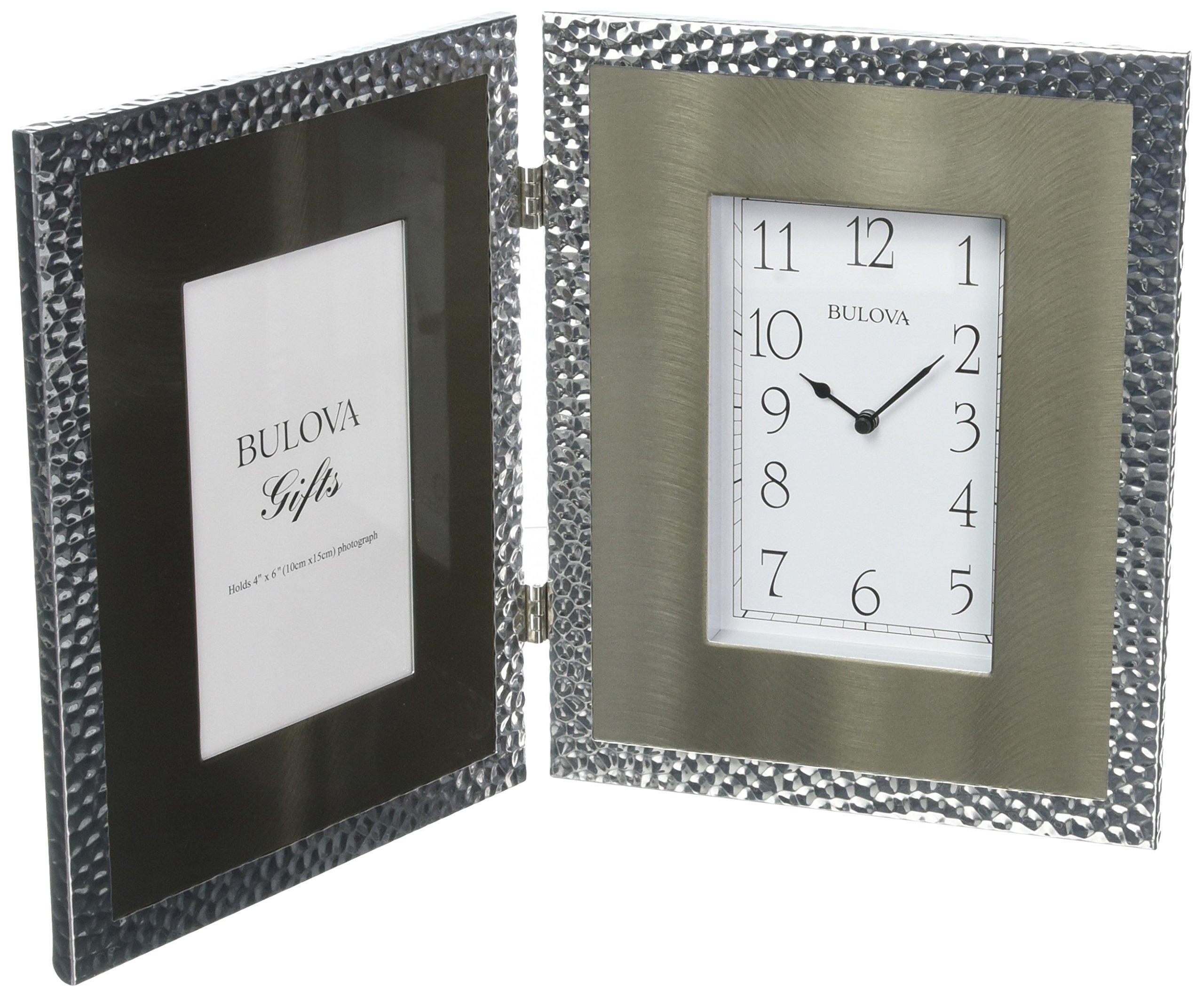Bulova B1244 Cobblestone Picture Frame Clock, Silver