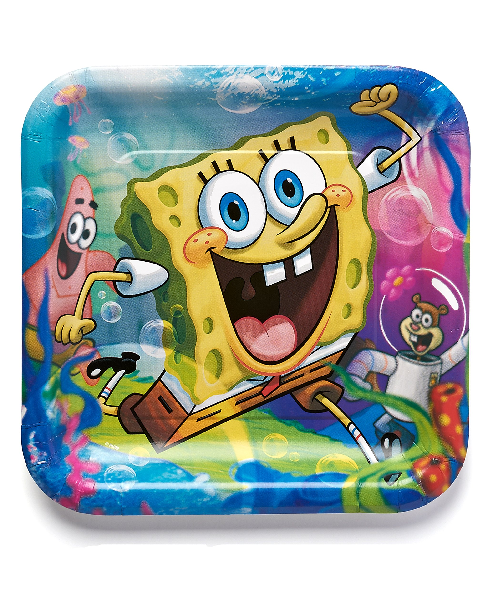 American Greetings SpongeBob SquarePants 9'' Square Plate, Party Supplies Novelty (8-Count)