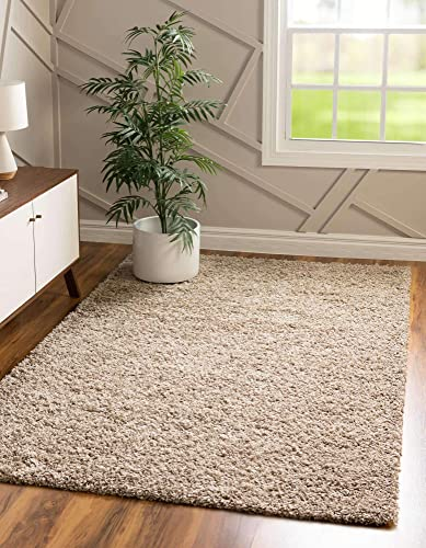 Unique Loom Solo Solid Shag Collection Modern Plush Taupe Area Rug 8' 0 x 10' 0