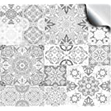 30 - Whites and Greys -Flat Printed Kitchen Bathroom Tile STICKERS For 100mm (TP15 - 4 inch) Square Tiles – Directly From: TILE STYLE DECALS, No Middleman (Pack of 30)
