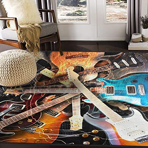ALAZA Magic Electric Guitar Music Area Rug Rugs for Living Room Bedroom 7 x 5
