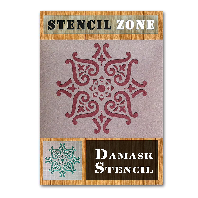 Modelo del damasco de la vendimia elegante lamentable Mylar pintura del arte de la plantilla de cuatro A1 Tama/ño de la plantilla - Xlarge