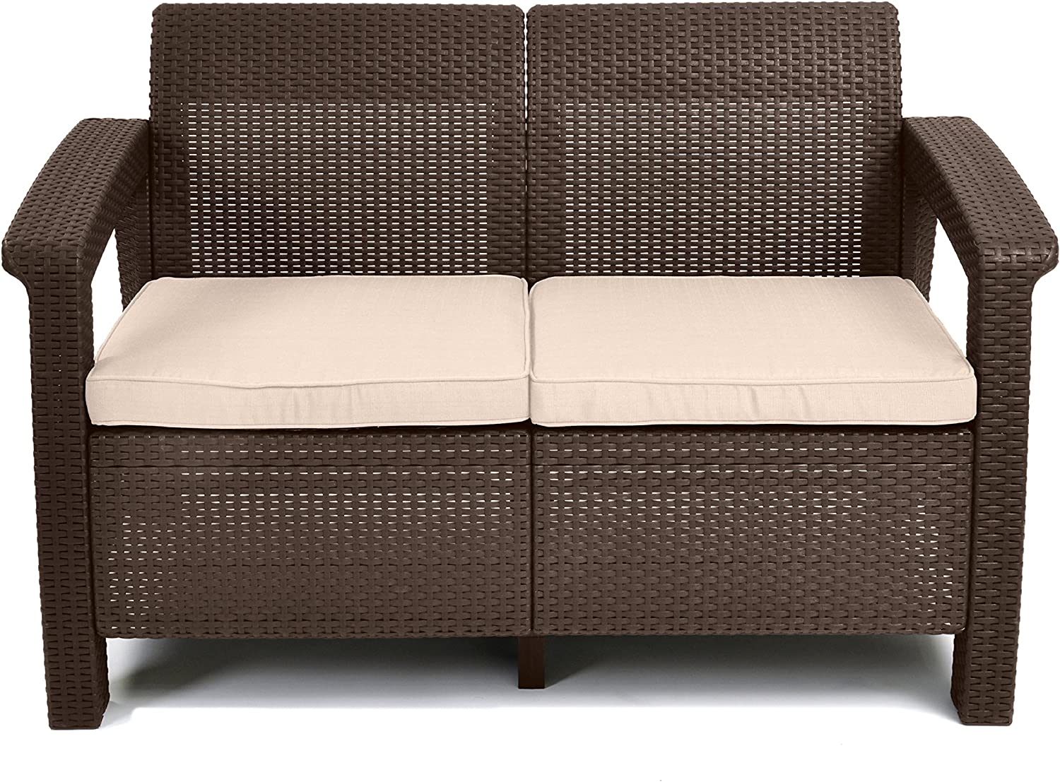 Keter Corfu Resin Wicker Outdoor Loveseat Patio Couch with Washable Cushions - Perfect for Balcony, Deck, and Poolside Seating and Furniture Sets, Brown : Patio Loveseats : Garden & Outdoor