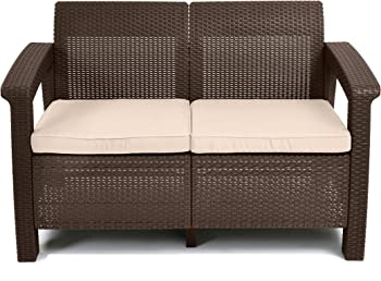 Keter Corfu Love Seat All Weather Patio Garden Furniture