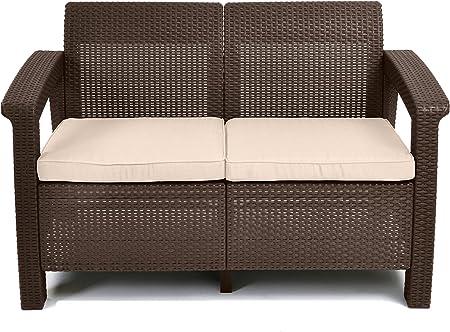 Keter 214770 Corfu Love Seats, Brown