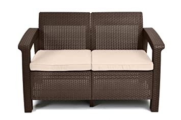 keter corfu love seat all weather outdoor patio garden furniture w cushions brown