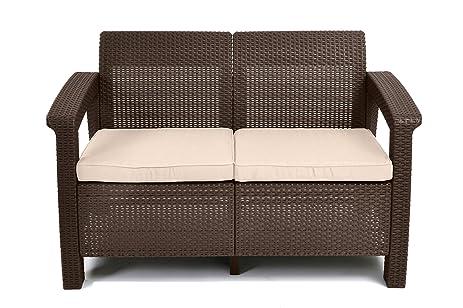 keter corfu love seat all weather outdoor patio garden furniture w cushions brown - Garden Furniture Love Seat