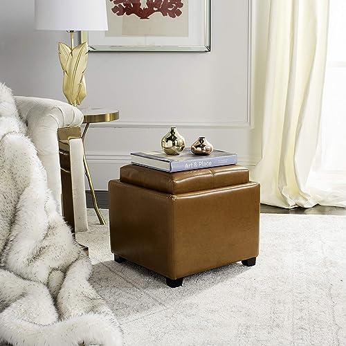 Safavieh Hudson Collection Harrison Brown Leather Single Tray Ottoman