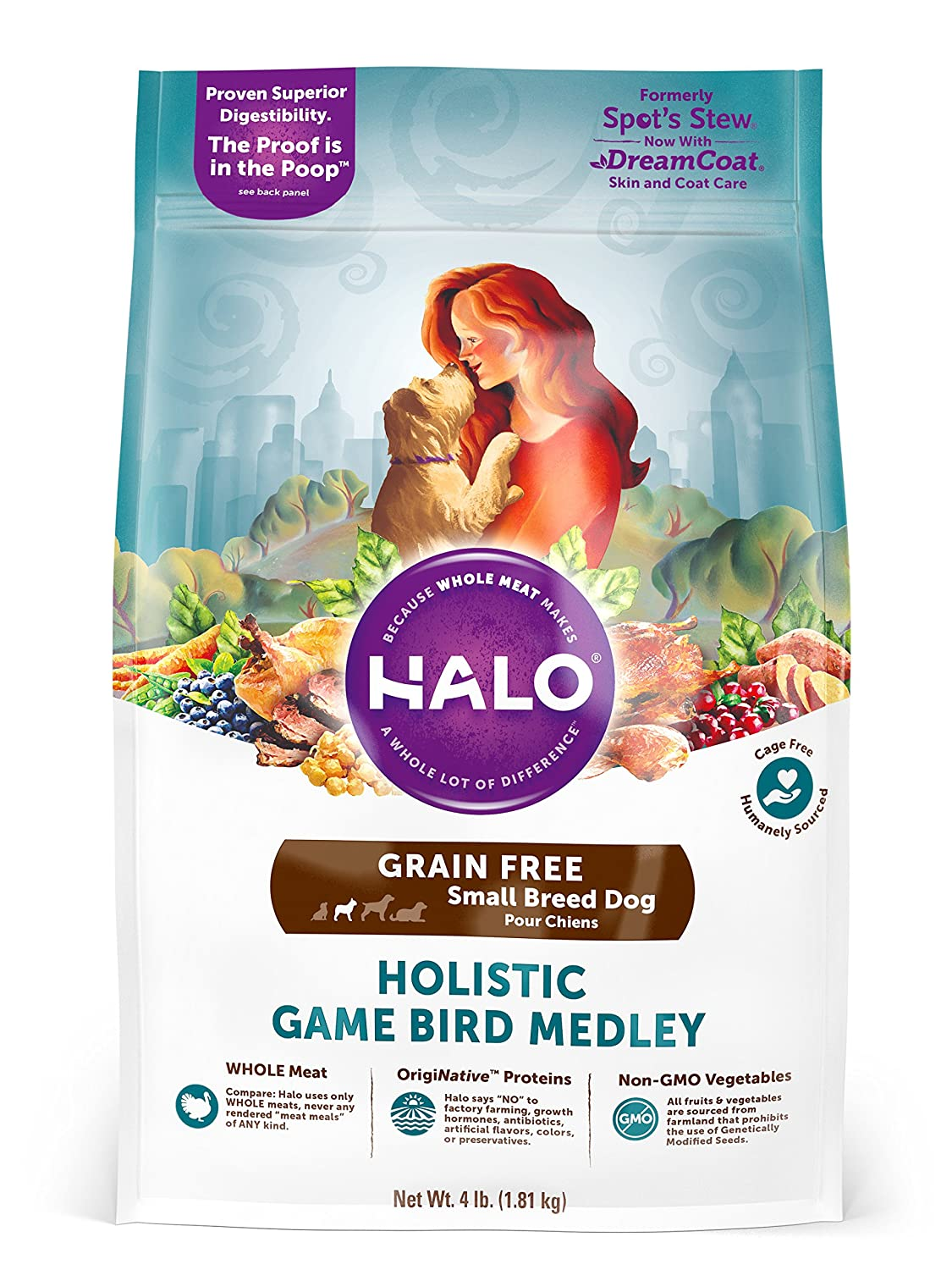 4 lb Bag Halo Grain Free Natural Dry Dog Food, Small Breed Game Bird Medley, 4-Pound Bag