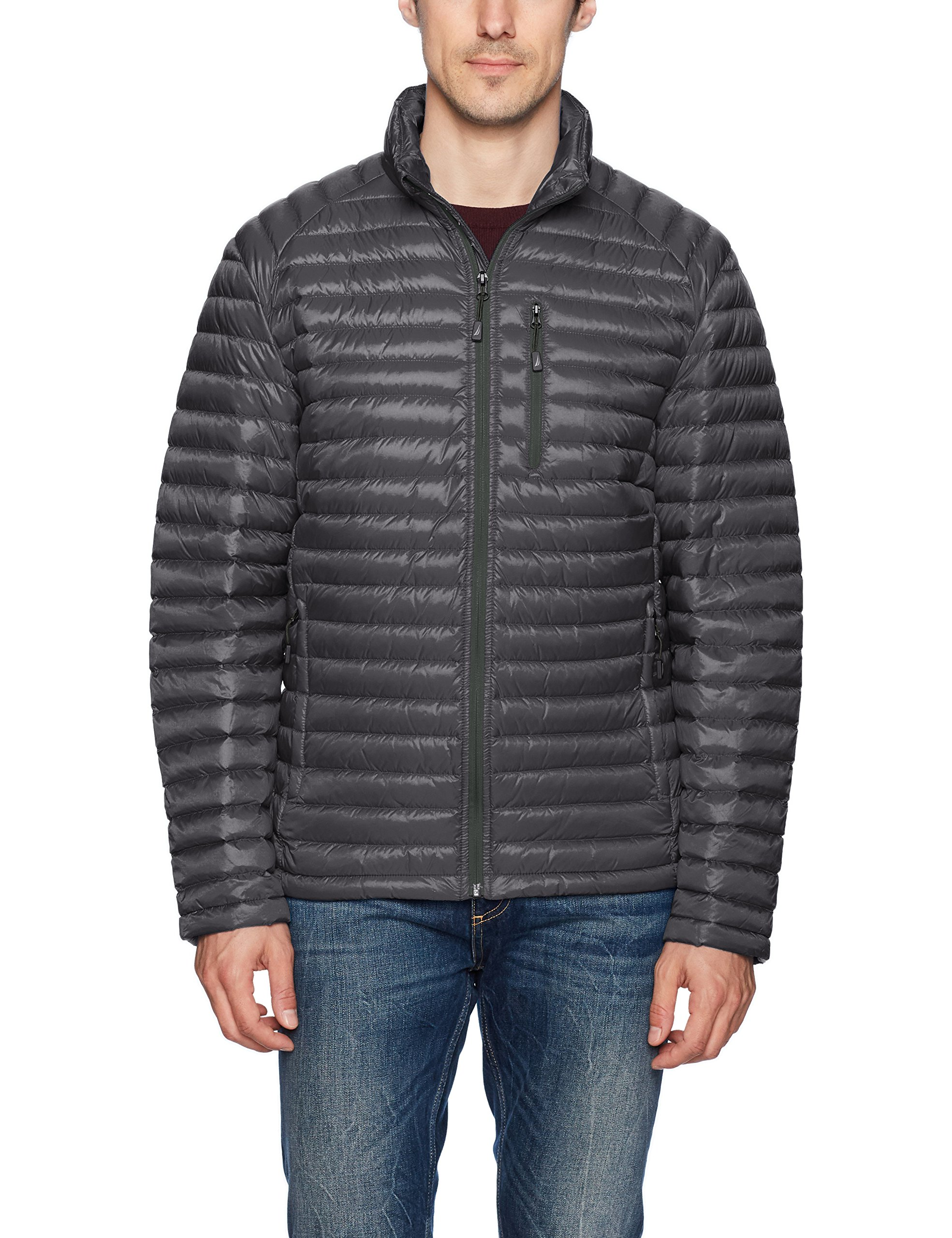 Nautica Men's Down Packable Puffer Jacket, Carbon, M by Nautica