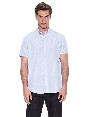 Springfield Camisa Verano SD Cuadros S/S Azul Cielo S: Amazon.es ...