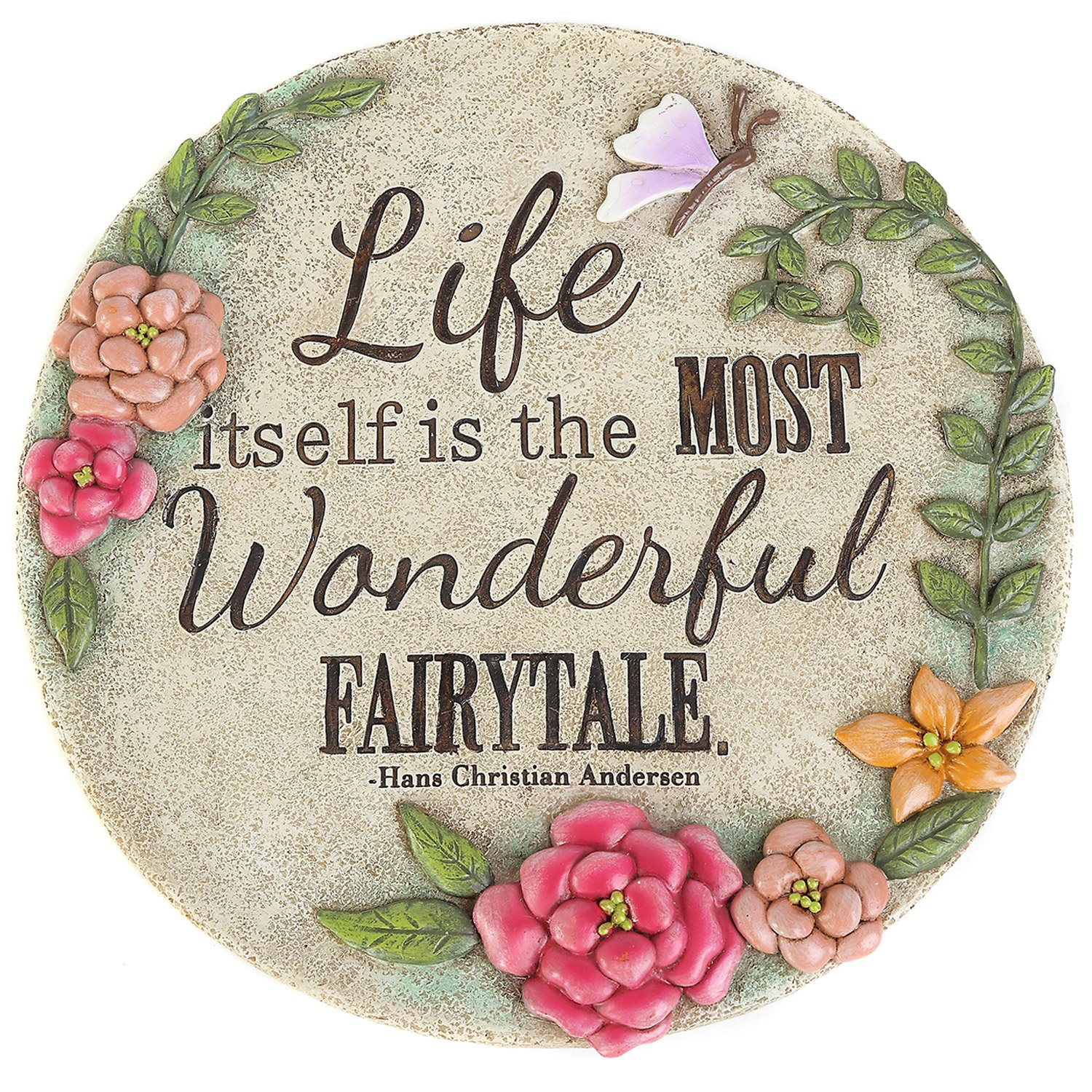 CEDAR HOME Garden Memorial Stepping Stones Life Itself is the Most Wonderful Fairytale, Round