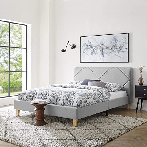 Vibe Upholstered Platform Bed Frame | Headboard and Wood Slat Support Upholstered Platform Bed Frame | Headboard and Wood Slat Support