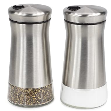 Elegant Salt And Pepper Shakers - Stainless Steel Set Of 2 - Gorgeous Salt And Pepper Dispenser With Adjustable Pour Holes - Perfect For Your Favorite Sea, Kosher And Himalayan Salts