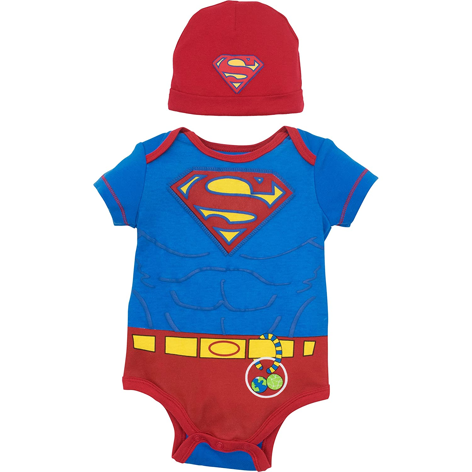 Warner Bros. Baby Boys' Batman and Superman Bodysuit and Hat Set Grey and Yellow (6-9 Months)