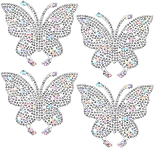 4 Pieces Bling Rhinestones Butterfly Sticker, Crystal Car Sticker Glitter Butterfly Decal Self-Adhesive Auto Emblem Decals Stickers for Car Bumper Window Laptops Decoration