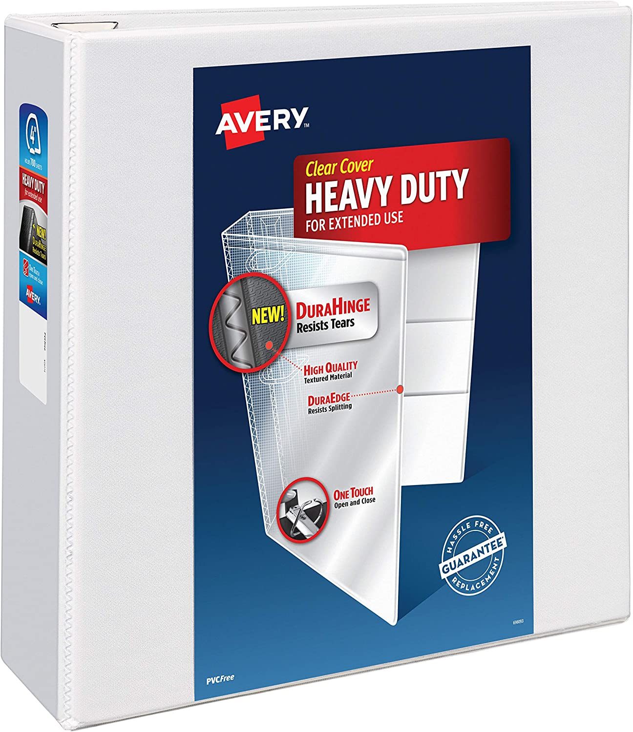 """Avery Heavy Duty View 3 Ring Binder, 4"""" One Touch Slant Ring, Holds 8.5"""" x 11"""" Paper, 1 White Binder (79704) : Office Products"""