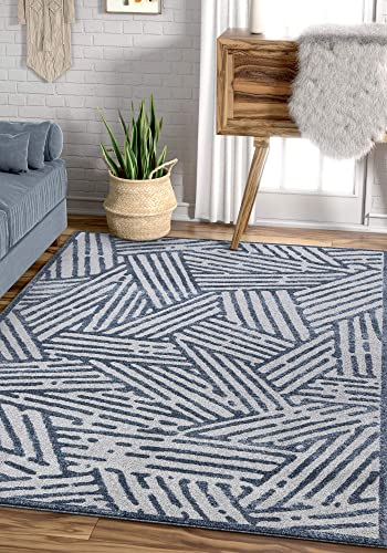 Well Woven Gizelda Blue Geometric Lines Pattern Area Rug 8×11 7'10″ x 10'6″