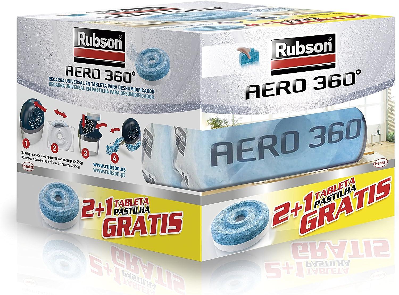 Rubson 2178378 Aero 360º Tabletas de Recambio Neutro, Absorbe Humedad y neutraliza Malos olores, Multicolor, 3x 450 g, Set de 3 Piezas