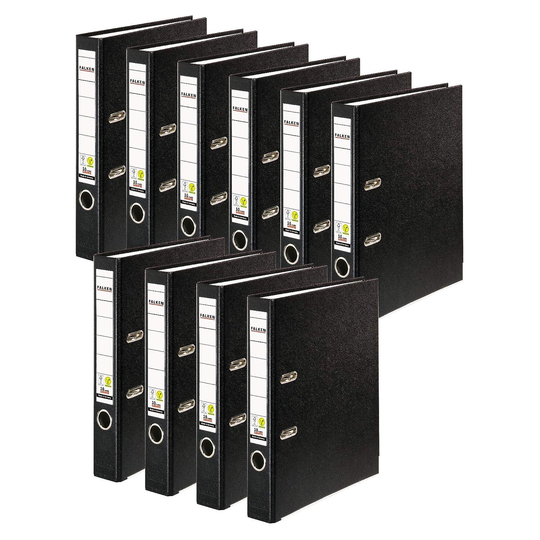 Original Falken 10er Pack PP-Color Kunststoff-Ordner 8 cm breit DIN A4 schwarz Vegan Ringordner Aktenordner Briefordner B/üroordner Plastikordner Schlitzordner Made in Germany