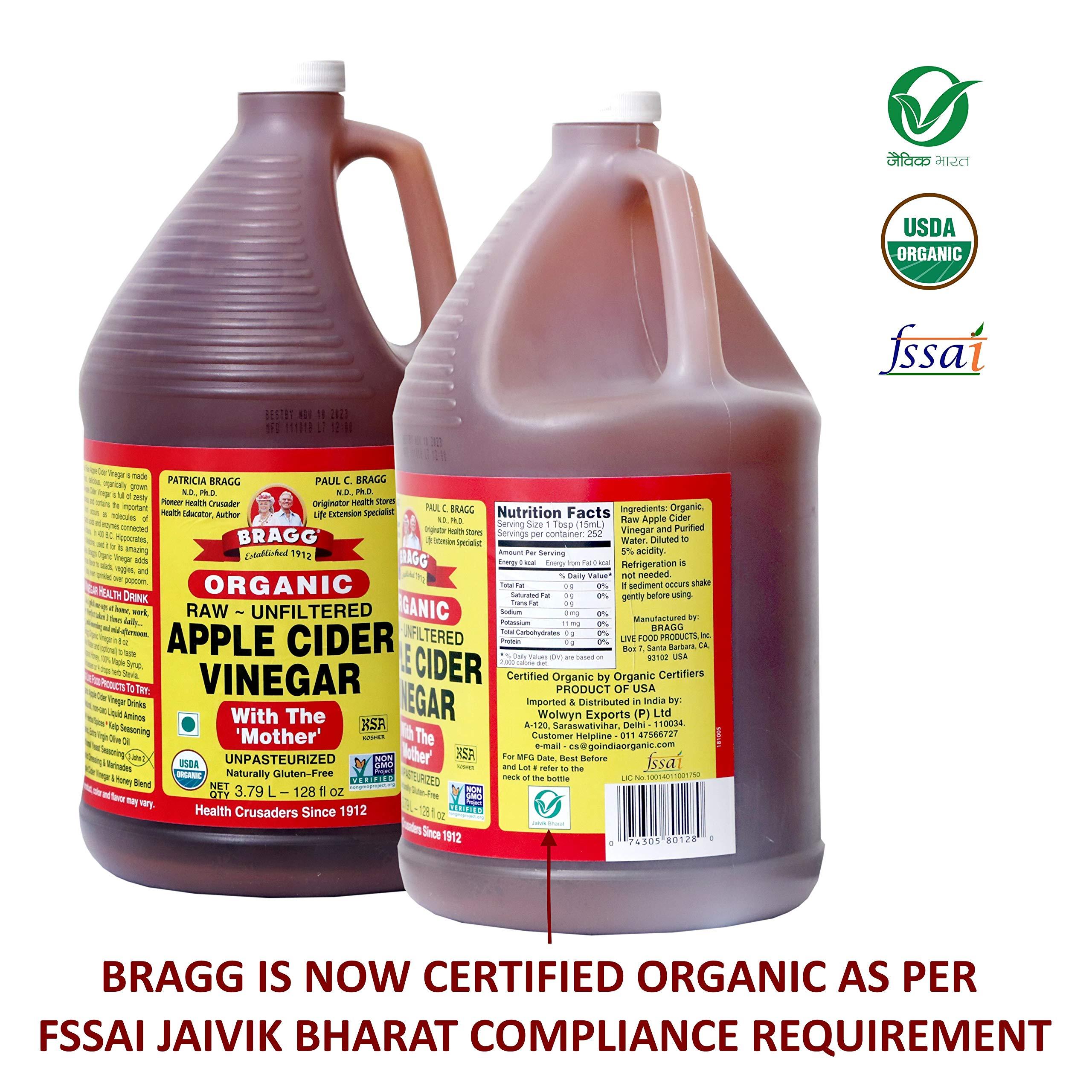 Organic Raw Apple Cider Vinegar Unfiltered Bragg 1 Gal (128oz) Liquid by Bragg (Image #6)