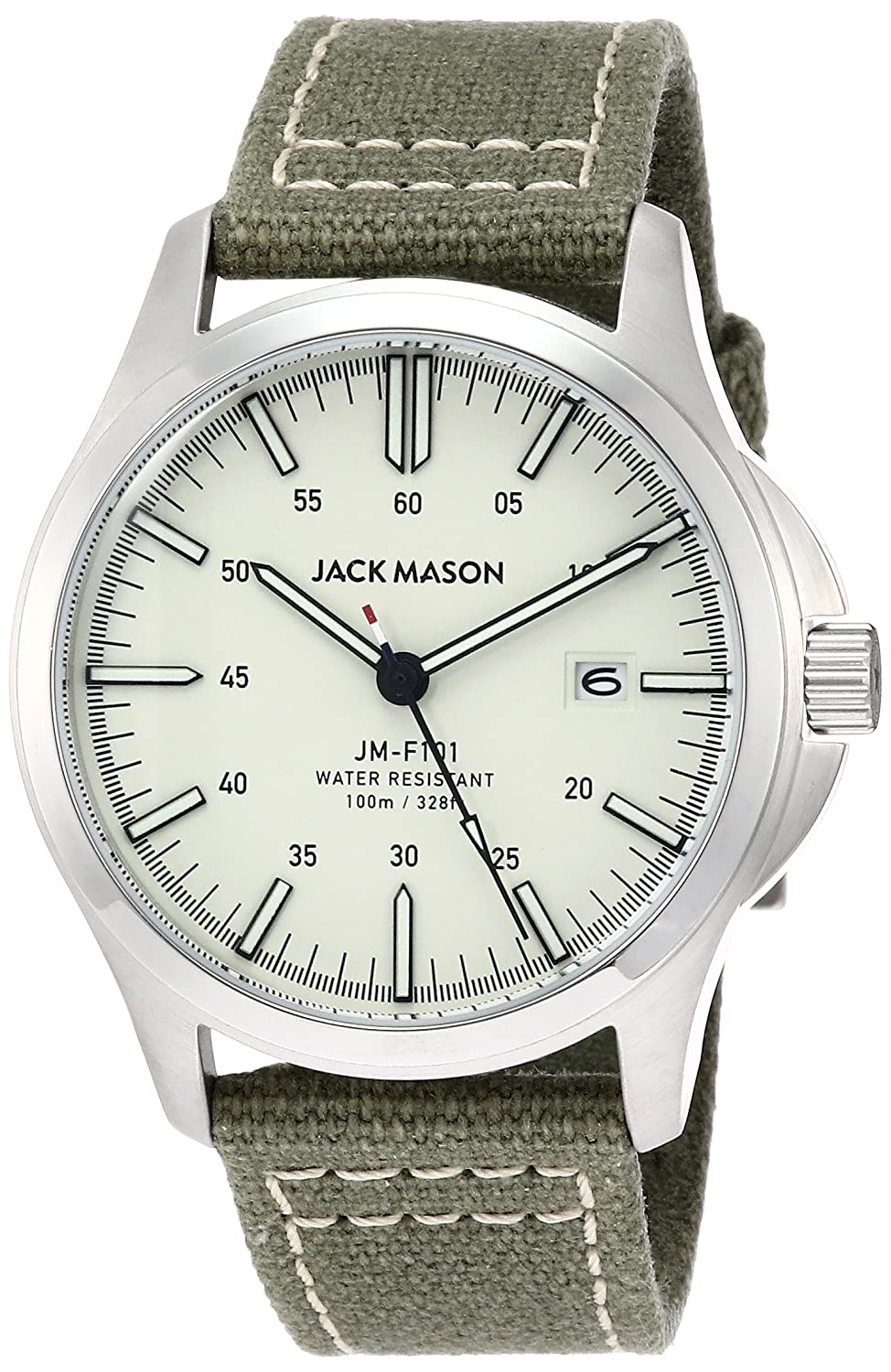 Amazon.com: Jack Mason Mens Watch Field Green Canvas Strap JM-F101-004: Watches