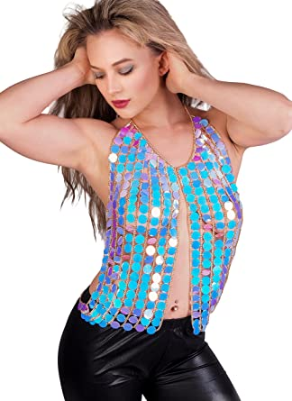 13e11cf7680ec Image Unavailable. Image not available for. Color  Arsimus Holographic Sequin  Rainbow Unicorn Rave Halter Vest Top