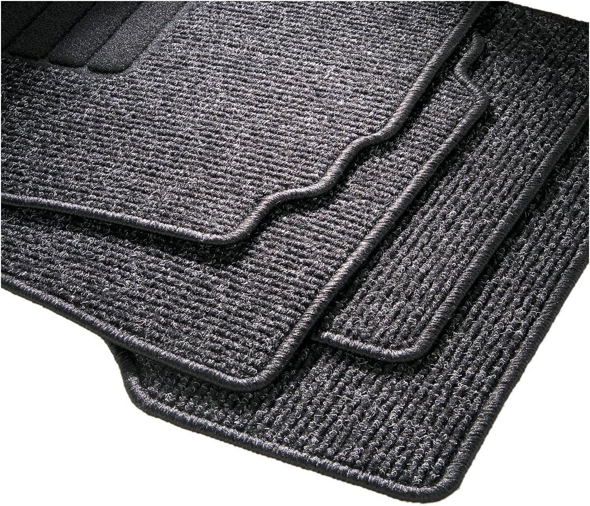 CarFashion 255033 Auto Fussmatten Set ohne Mattenhalter BasicRips-Textil Schwarz 4-teilig