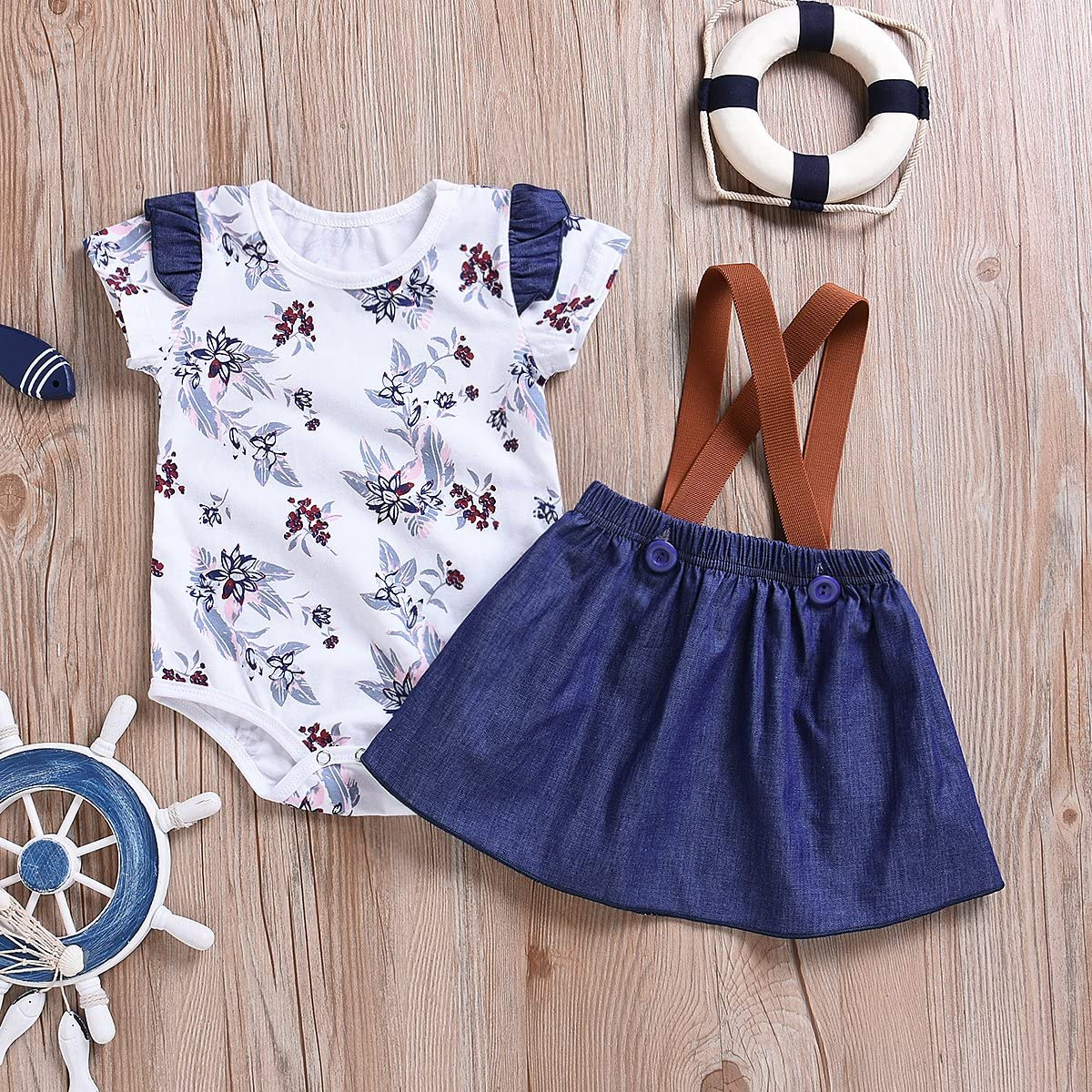 Denim Skirt Outfits Set 2pcs Cute Toddler Baby Girls Princess Floral Print Suspenders Ruffled Romper Tops