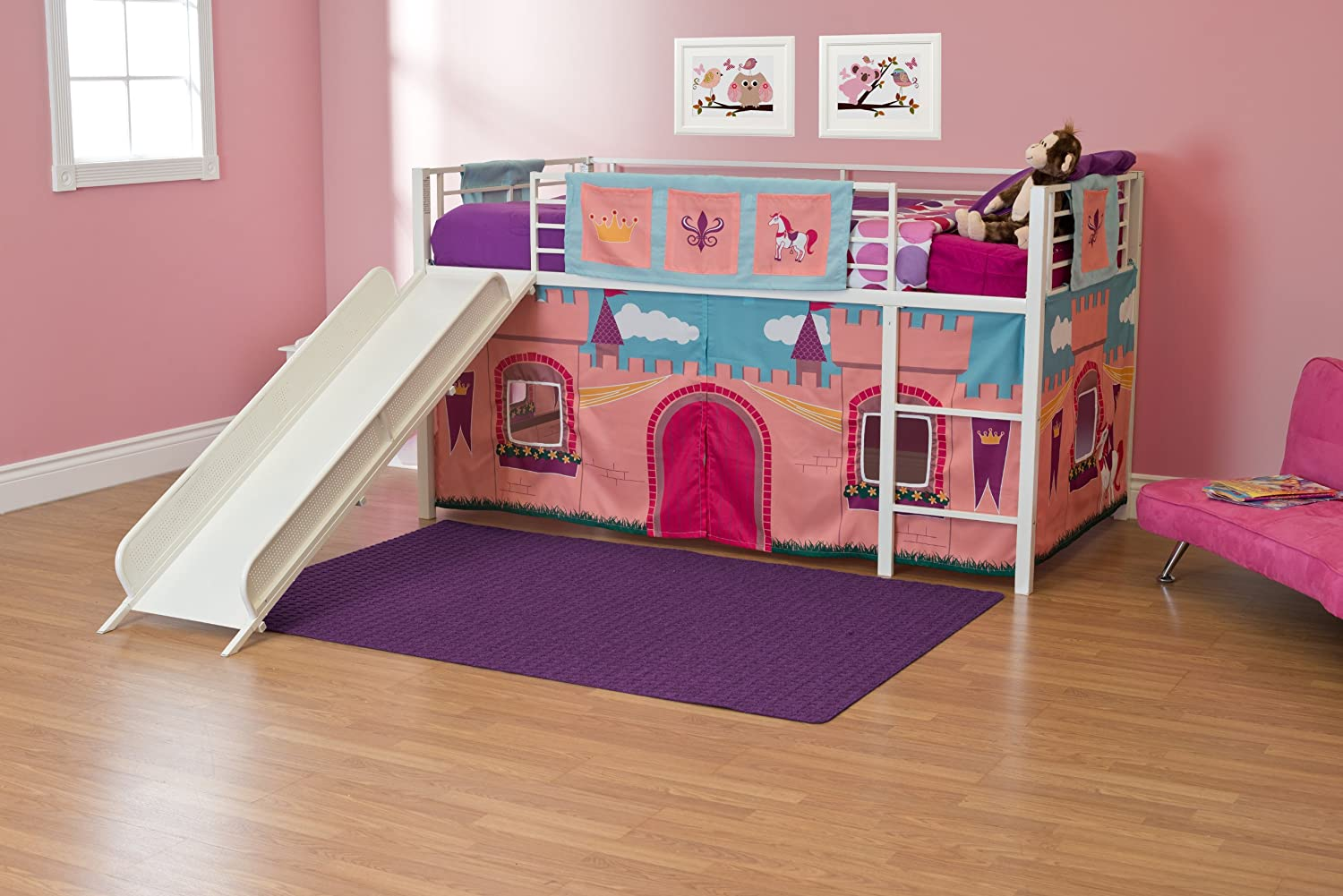 Amazon Com Dhp Curtain Set For Junior Loft Bed With Princess Castle
