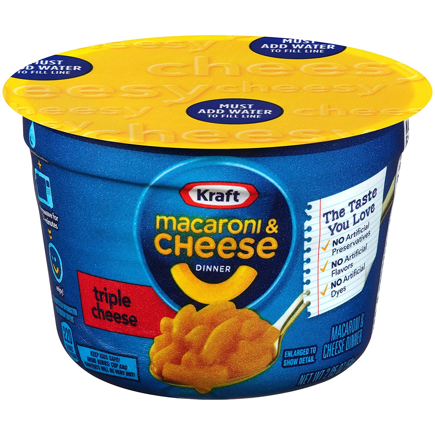 Kraft Easy Mac Triple Cheese Microwavable Cup (2.05 oz Cups, Pack of 10)