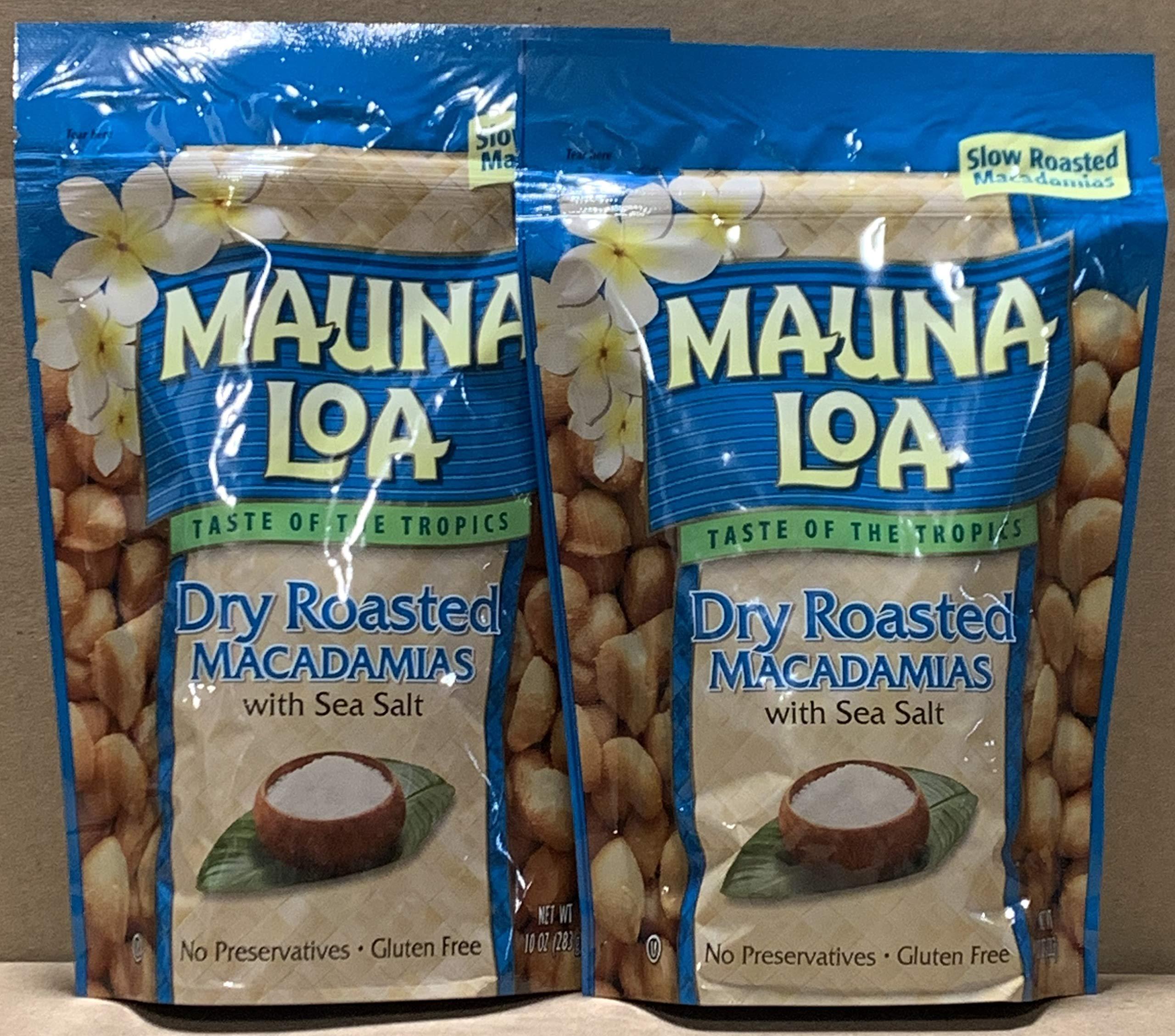 KC Commerce Gift Set Mauna Loa Macadamias, Dry Roasted with Sea Salt, 10-oz (Dry Roasted With Sea Salt 10oz Pack of 2)