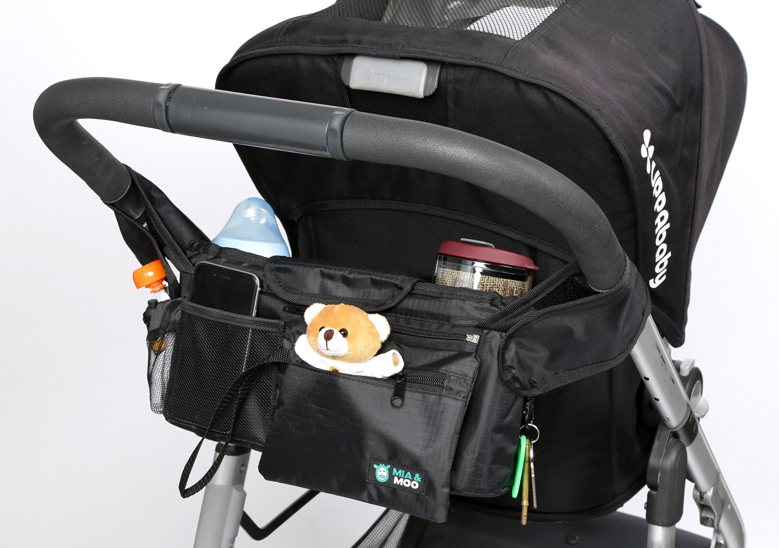 Stroller Organizer Bag Universal Fit - 2 Insulated Cup Holders - Water & Leak Proof - Zip Off Wristlet Wallet For Money and Keys - Perfect for Moms & Dads On The Go