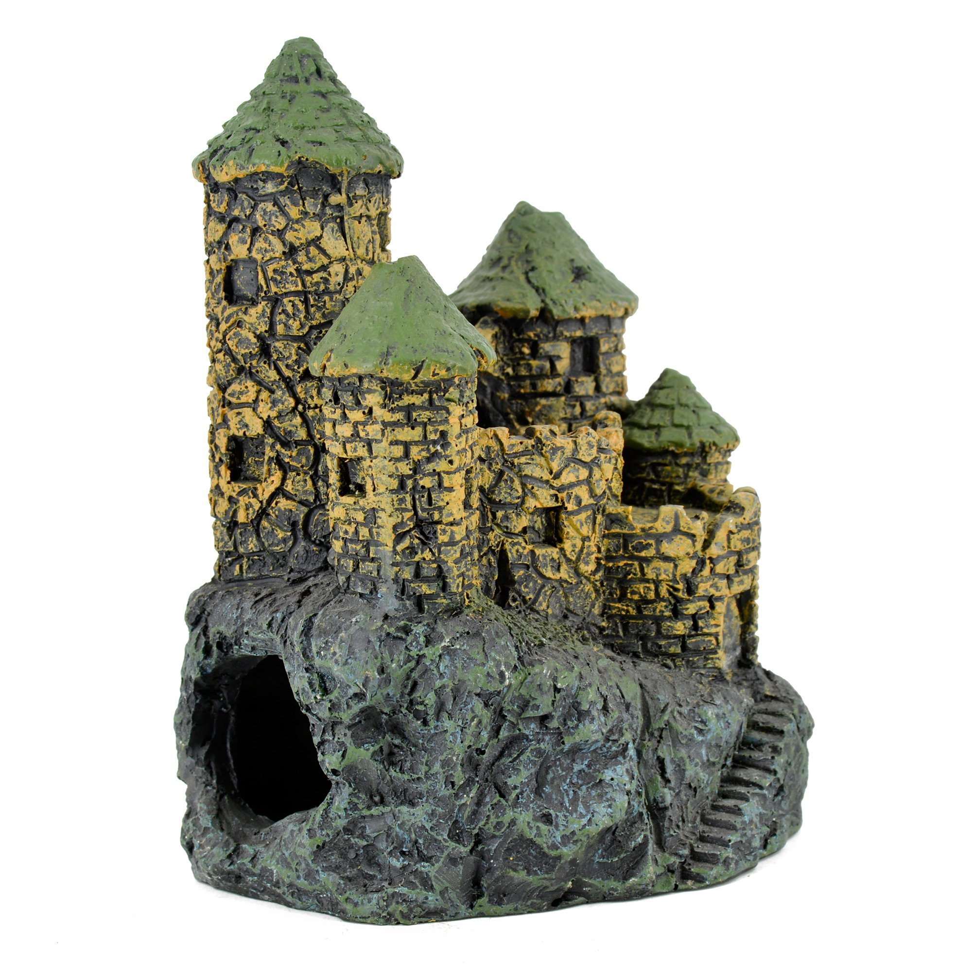 Hygger Aquarium Ornaments Fish Tank Decorations Castle Cave Resin, Durable Resin Material, 5.3 Inch, Safe for Fish
