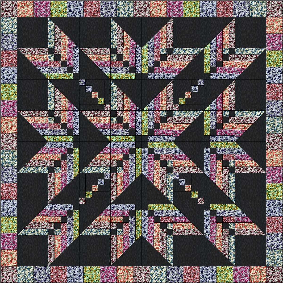 Easy Quilt Kit Exploding Star Floral 3D/Queen Galaxy/RJR