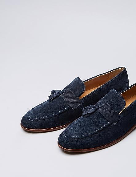 FIND Mocasines Borlas Texturizado en Piel para Hombre: Amazon.es: Zapatos y complementos